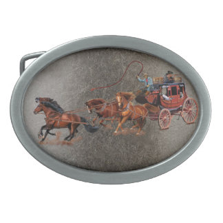 STAGECOACH COWBOYS OVAL BELT BUCKLES