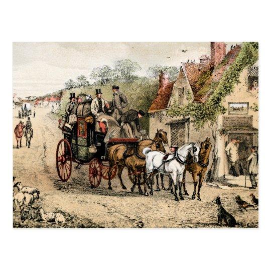 Stagecoach outside a coaching inn postcard
