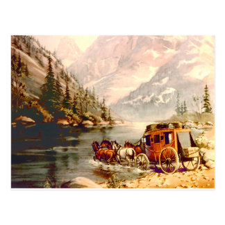STAGECOACH RIVER CROSSING by SHARON SHARPE Postcard