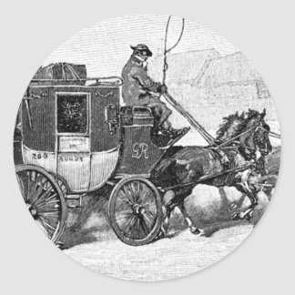 stagecoach-travel-3A stage coach-Baldwin's Reader. Classic Round Sticker