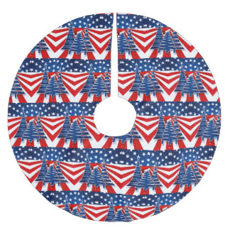 Staggered Stars and Stripes Christmas Trees Brushed Polyester Tree Skirt