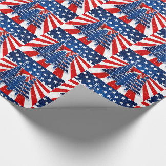 Staggered Stars and Stripes Christmas Trees Wrapping Paper