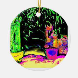 Staghorn Fern GO GREEN1a jGibney The MUSEUM Zazzle Round Ceramic Ornament