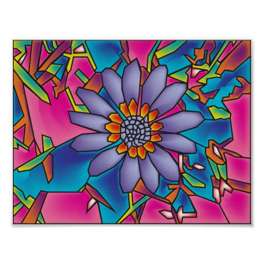 stain glass flower poster