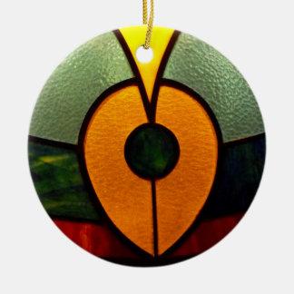 Stain Glass Leaf Round Ceramic Ornament