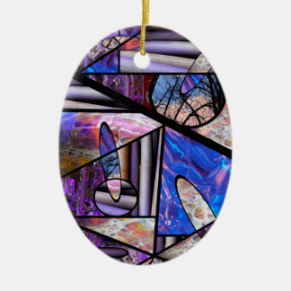 Stain Glass  Photo Collage Ceramic Oval Ornament