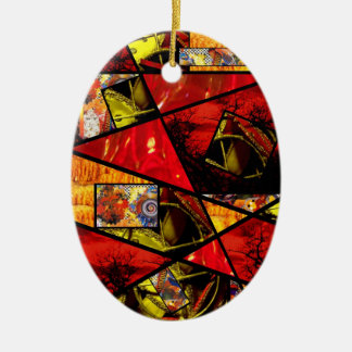 Stain Glass  Photo Collage (reds) Ceramic Oval Ornament