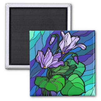 Stain Glass Purple Flower Magnet