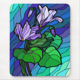 Stain Glass Purple Flower Mousepad