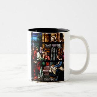stain glass window at church... Two-Tone coffee mug