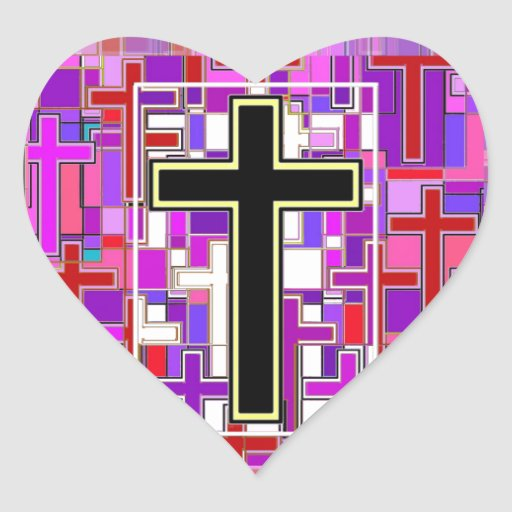 Staind Glass Cross Perspective. Heart Sticker