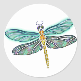 Stained Glass & Abalone Shell Dragonfly Round Sticker
