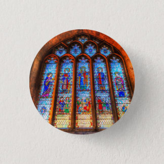 Stained Glass Abbey Window 1 Inch Round Button