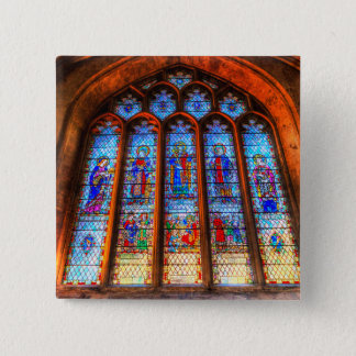 Stained Glass Abbey Window 2 Inch Square Button