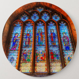 Stained Glass Abbey Window 6 Inch Round Button