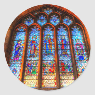 Stained Glass Abbey Window Classic Round Sticker