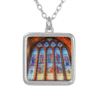 Stained Glass Abbey Window Silver Plated Necklace