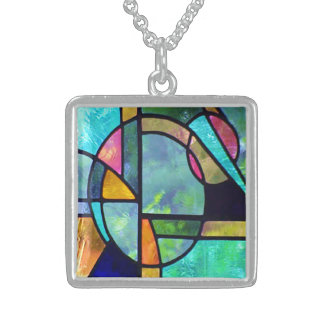 Stained Glass Abstract 1 Sterling Silver Necklace