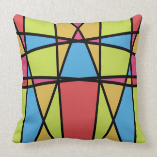 Stained Glass Abstract Art Throw Pillow
