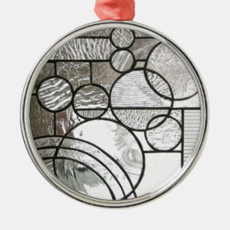 Stained Glass  Abstract Circle square clear Silver-Colored Round Ornament
