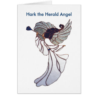 Stained Glass Angel - Blue Trumpet Card