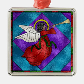 Stained Glass Angel Metal Ornament