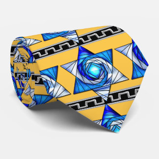 Stained Glass Art Deco Magen David v2 Tie
