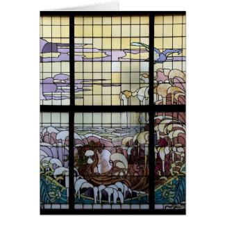 Stained Glass Art Nouveau Sea Scene Card