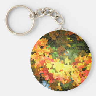 Stained Glass Autumn Maple Leaves Orange Yellow Keychain