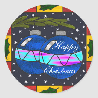 Stained glass baubles classic round sticker