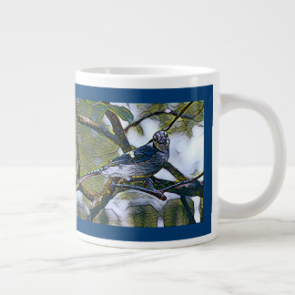 Stained glass blue jay, on deep blue background large coffee mug
