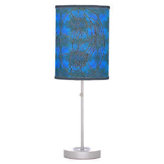 Stained Glass Blue Paint Horse Table Lamp