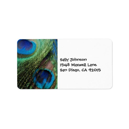 Stained Glass Blue Peacock Address Labels
