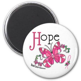 Stained Glass Butterfly 1 Breast Cancer 2 Inch Round Magnet