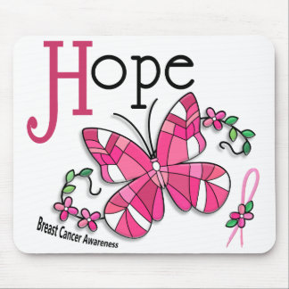 Stained Glass Butterfly 1 Breast Cancer Mouse Pad