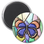 Stained Glass Butterfly 2 Inch Round Magnet