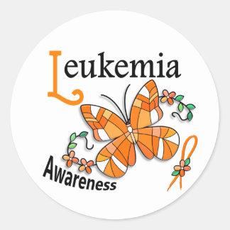 Stained Glass Butterfly 2 Leukemia Round Sticker
