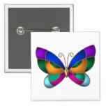 Stained Glass Butterfly Button