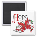 Stained Glass Butterfly Heart Disease Square Magnet