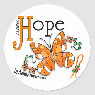 Stained Glass Butterfly Leukemia Round Sticker