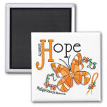 Stained Glass Butterfly Multiple Sclerosis Square Magnet