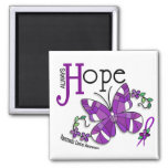 Stained Glass Butterfly Pancreatic Cancer Magnets