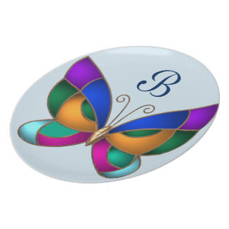 Stained Glass Butterfly Plate