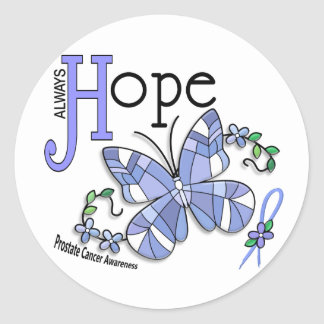 Stained Glass Butterfly Prostate Cancer Round Sticker