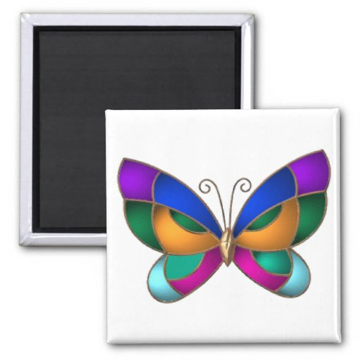 Stained Glass Butterfly Square Magnet