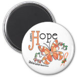 Stained Glass Butterfly Uterine Cancer Fridge Magnets