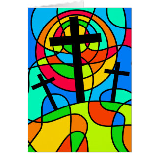 Stained Glass Calvary Cross Card