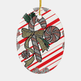 Stained Glass Candy Cane Ceramic Ornament