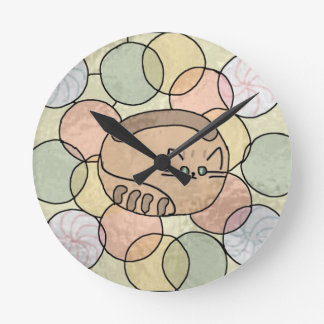 Stained glass candy cat round clock