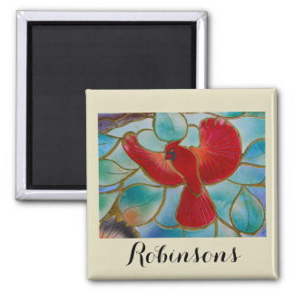 Stained Glass Cardinal Magnet